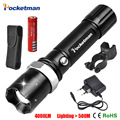 FT17 LED flashlight Tactical 3800 Lumens CREE XM-T6 Zoomable 5 Modes Black LED Flashlights Torch For Camping Cycling