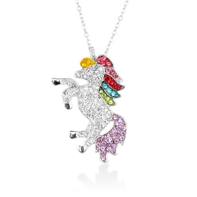 Милое ожерелье с единорогами, модные украшения в виде лошади из мультфильма, аксессуары для девочек, детские, женские вечерние браслеты с подвеской в виде животного - Окраска металла: Necklace Silver