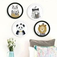 Nordic DIY Okrągły Ramka na zdjęcia Płótno Malowanie Zwierząt Lion Niedźwiedź Panda Reprodukcje Plakat Obraz Dla Dzieci Pokój Home Decor