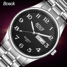 Бренд bosck 2017 Новый горячий неделю календарь Мужские часы бизнес классический водонепроницаемый световой Количество Кварцевые наручные часы и часы