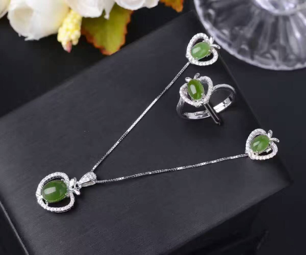 Natural green jasper jewelry sets natural gemstone ring Earrings Pendant 925 silver Stylish Elegant Heart women party jewelry pair of stylish engraved heart fringe earrings for women