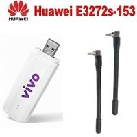 Unlock 4g universal modem USB Dongle Huawei E3272s 153 LTE 4G USB Modem plus 2pcs antenna