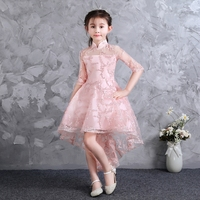 2018 New Children Girls Pink Princess Mesh Dress Clothes Kids Baby Elegant Christmas Birthday Wedding Dress Tutu Tail Dresses