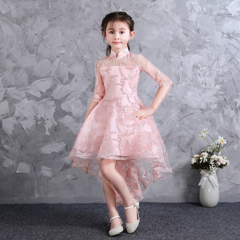 2018 nouveaux enfants filles rose princesse maille robe vêtements enfants bébé élégant noël anniversaire robe de mariée Tutu queue robes