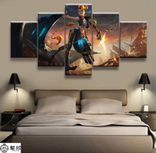 Hot Sales Without Frame 5 Panels Picture LOL League of Legends Jinx Game Print Artwork Wall Canvas Art Painting Wholesale