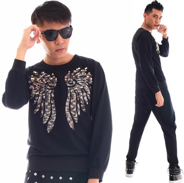 Personnalité Longues Slim Coréenne Only Mens Stade Punk Danse Manches Chemise Noir Chanteur Sexy Shirt Paillette Hommes Adolescente À Mode De zqfwxOR