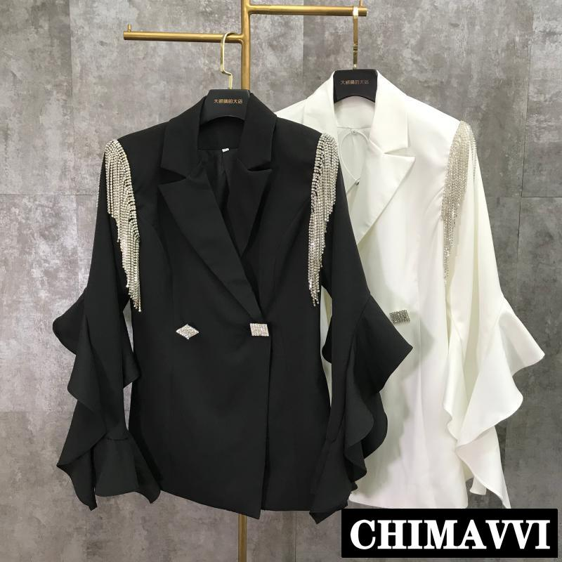 2019 New Spring And Summer Lady's Shoulder Tassel Water Drill Chain Ruffle Lace Sleeve Suit Jacket Women Blazer Coat Outwear