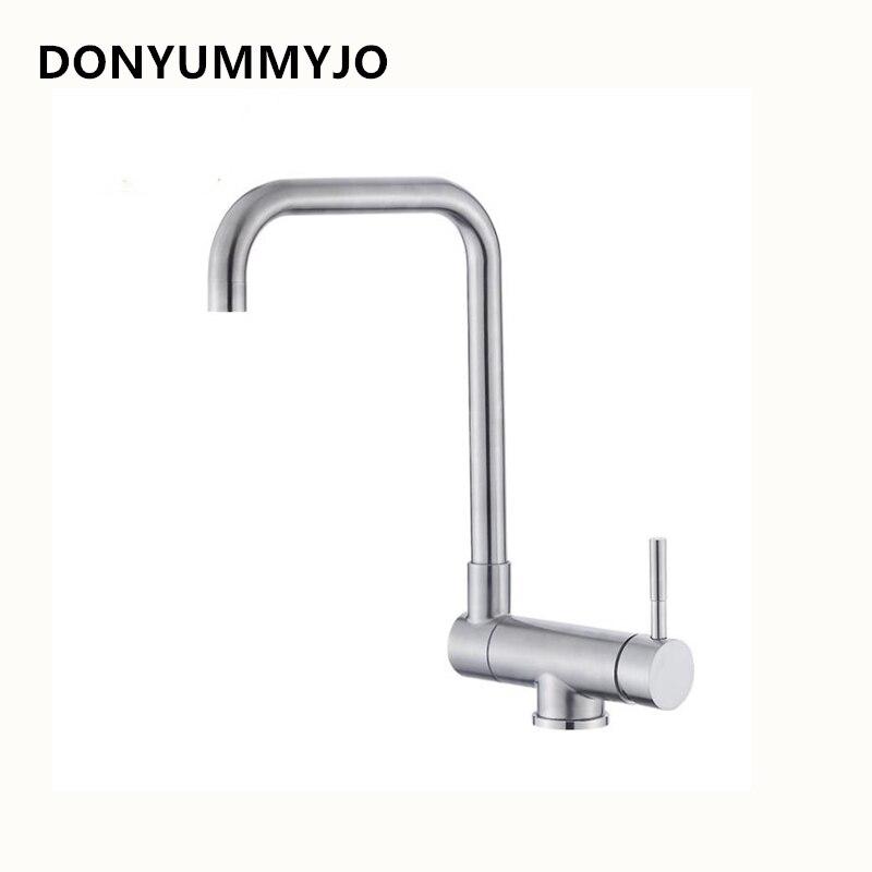 304 robinet d'évier de cuisine fini par nickel d'acier inoxydable Rotation de 720 degrés robinets d'eau chaude et froide à poignée unique avec 2 tuyaux