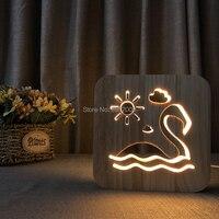 Houten nachtlampje flamingo ontwerp lamp USB power LED lamp kinderen slaapkamer bedlampje club woondecoratie