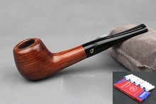 Handmade Rosewood Weed Tobacco Smoking Pipe Red Wooden Straight Pipe + Pouch + Stand/Holder + 10pcs 9mm Pipe Filters DB083