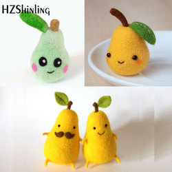 Non Finished Felt Kit Creative Cute Pear Toy Doll Wool Felt Poked Kitting Non-Finished Handcarft Wool Felting Material Package
