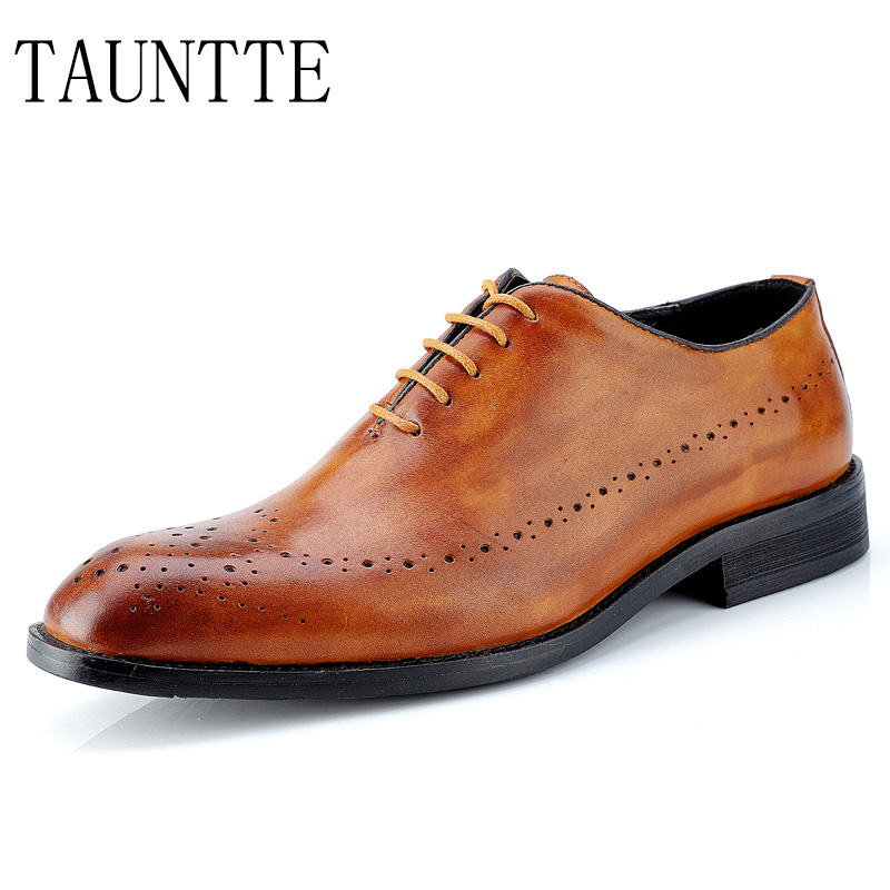 2018 New Men Shoes Full Grain Leather Dress Brogue Shoes Carved Retro Men's Cow Leather Business Oxfords Shoes new branded men s casual full grain leather oxfords shoes wedding dress shoes handmade business lace up brogue shoes for men