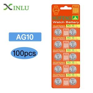 100pcs AG10 Battery Lithium 1.