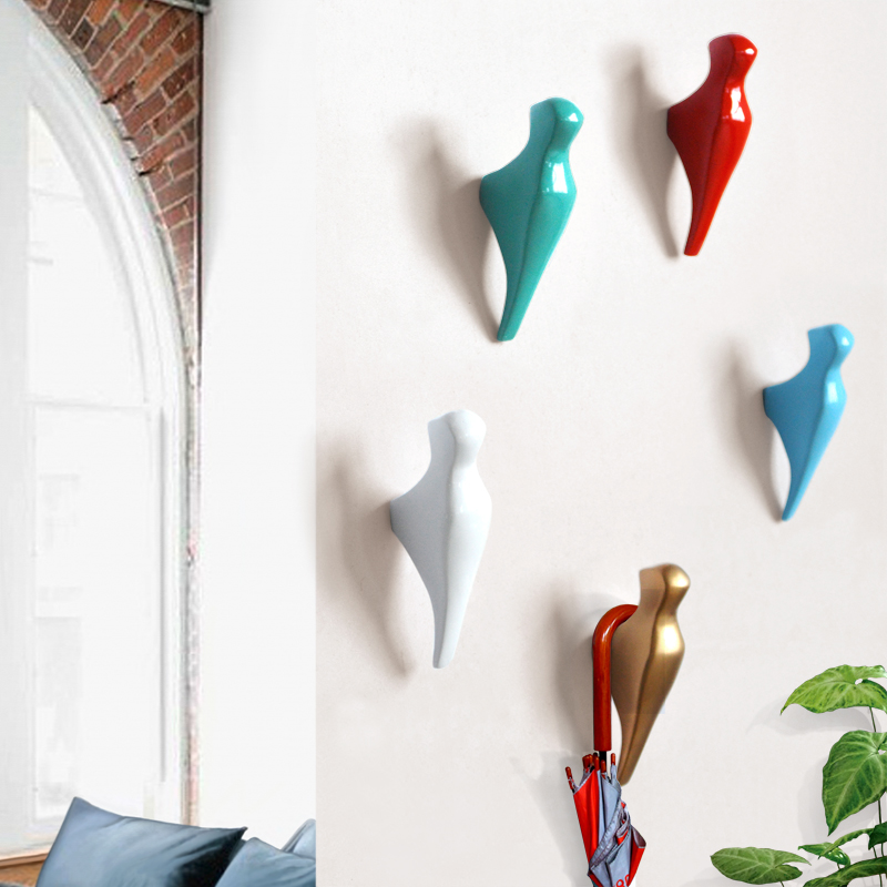 Creative bird wall decoration hook living room bedroom entrance clothing hat hook wall ornaments crafts simple pure color hanger in wind chimes hanging