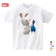 Cartoon Child Crazy Rabbit Print T-shirt Boy Girl Rabbit Funny Child T-shirt Kids Children Round Neck Short Sleeve Tops Tee