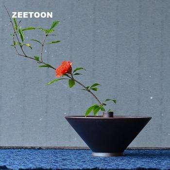 Zen Japanese  Living Room Flower Pot Vase Ceramic Coarse Pottery GlazeKung Fu Tea Set Flower Arrangement Creative Vintage Decor