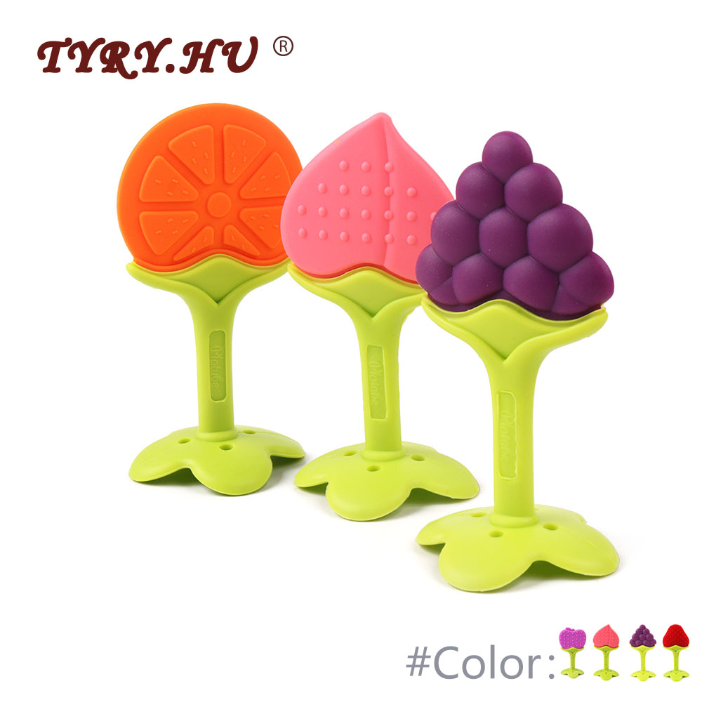 TYRY.HU 5pcs Fruit Baby Silicone Teether Food Grade Vegetable Shape Baby Teething Care Silicone Toy BPA Free Dental Care