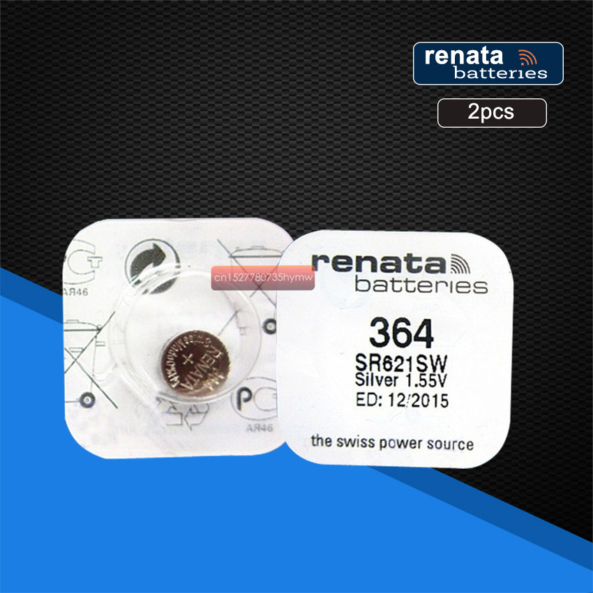 2pack Renata Swiss 1.55V Battery For Watch Silver Oxide 364 SR621SW Batteries