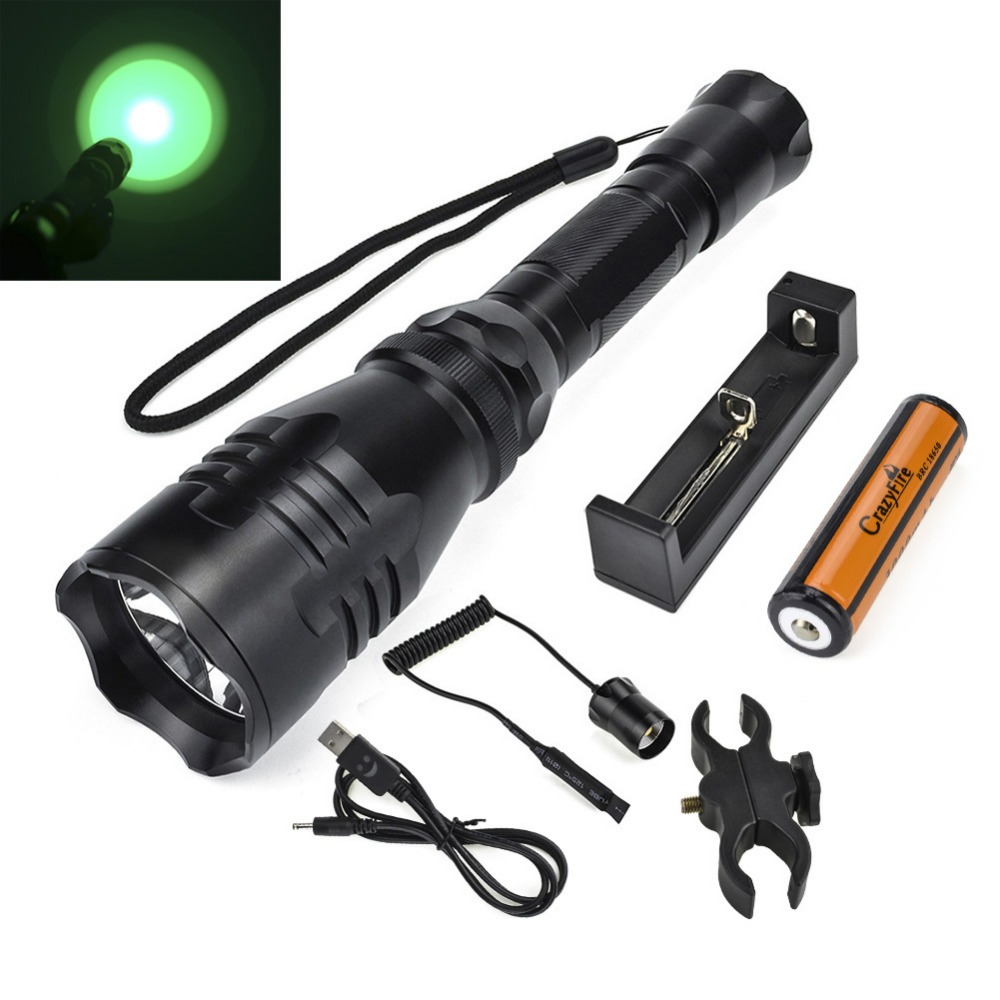 Hunting Flashlight 500M Long Distance Green Red Light CREE R5 LED Torch Lanterna Aluminum Tactical Self Defense Flashlight siku трактор john deere с пресс подборщиком