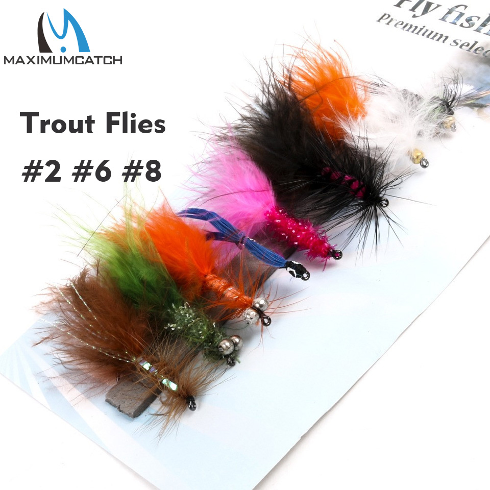 Maximumcatch Nymph Rainbow Trout Flies 2# 6# 8 Patterns Assortment Fly Fishing redfish seatrout fly assortment collection of 6 holly flies
