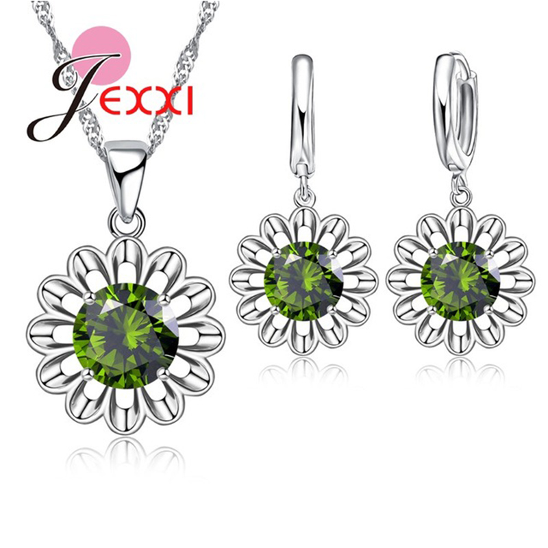 GIEMI 8 Colors 925 Sterling Silver Round Crystals Flowers Pendant Necklace Dangle Earrings Sets Jewelry Set Woman Wedding Bijoux