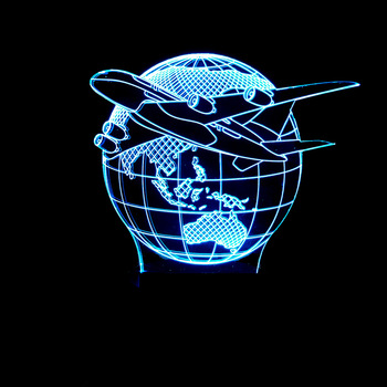 Gift for boyfriend 7 Color Change 3D Hologram Airplane Earth Lamp party favor anniversary present Valentine's day gift