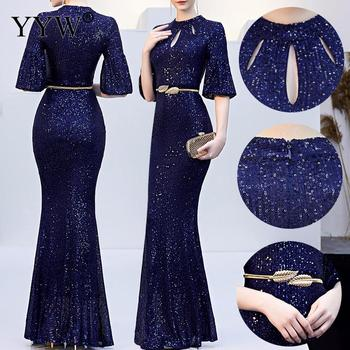 Red Sequined Luxury Evening Dress Women Half Sleeve Hollow Mermaid Long Party Dress Bodycon Elegant Prom Gown Sexy Club Dresses 3