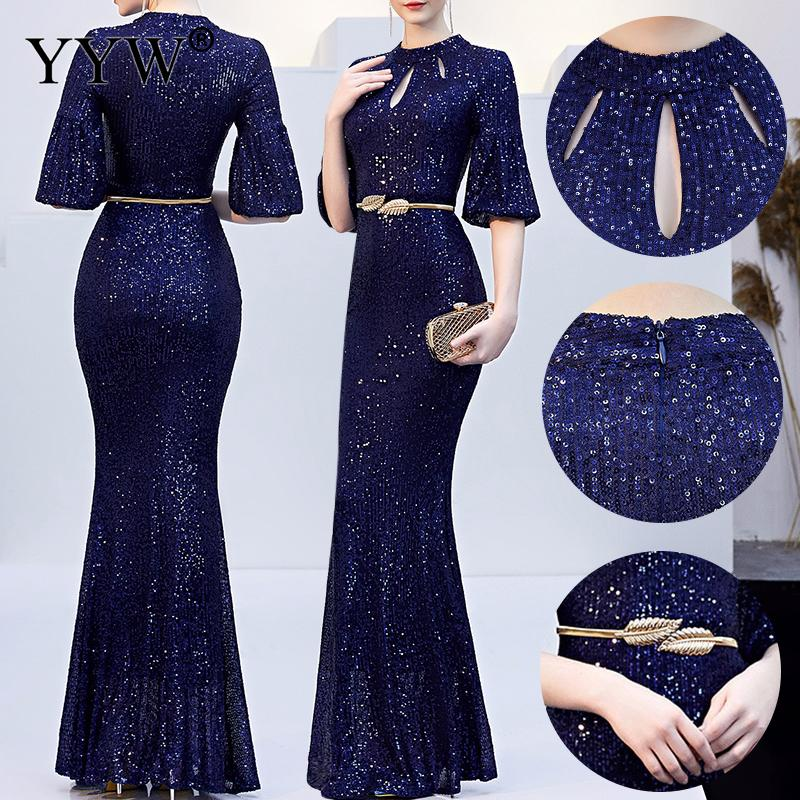 Image 3 - Red Sequined Luxury Evening Dress Women Half Sleeve Hollow Mermaid Long Party Dress Bodycon Elegant Prom Gown Sexy Club Dresses-in Evening Dresses from Weddings & Events
