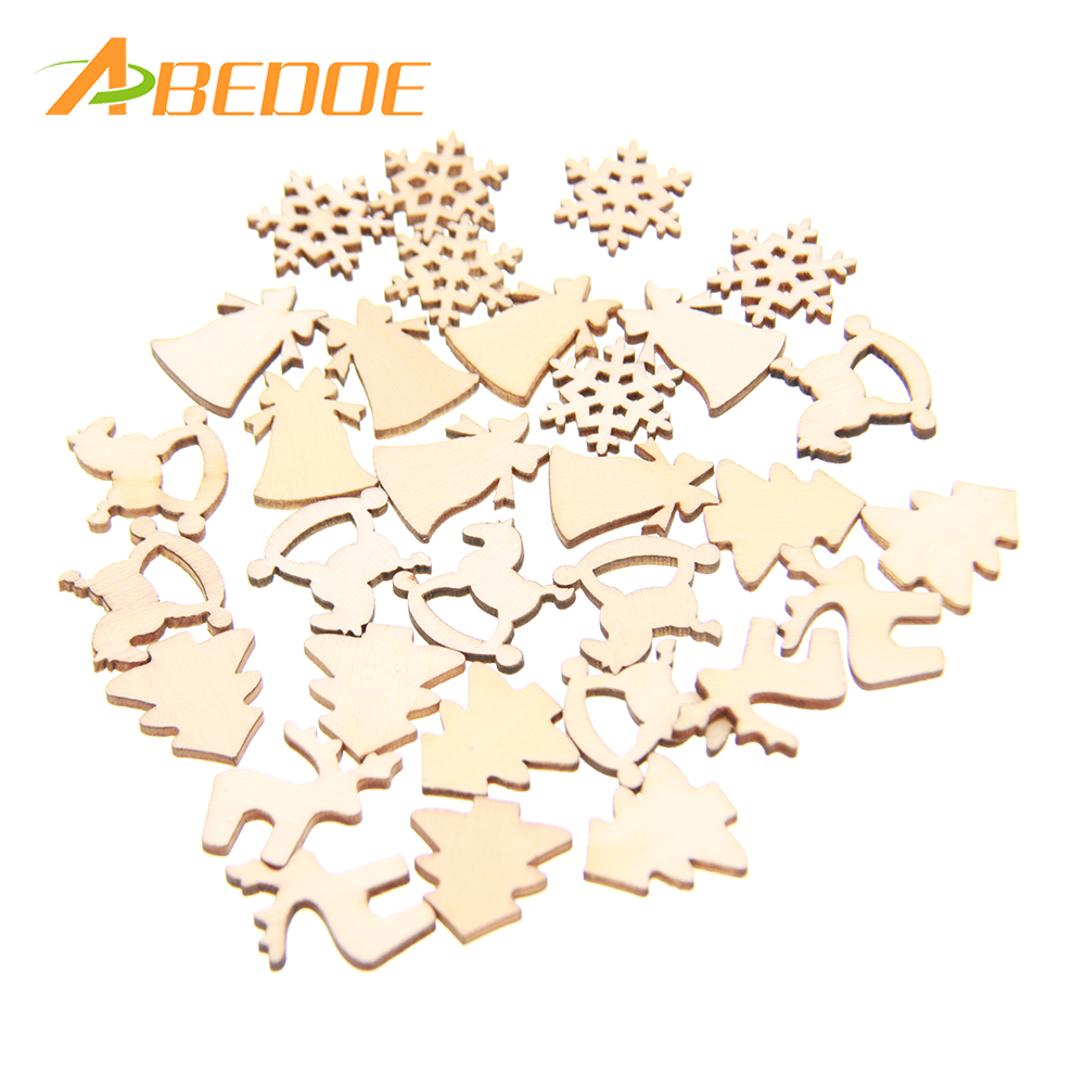 30pcs/lot 5 Designs 20mm Natural Wood Christmas Ornaments Reindeer Tree Snow Flakes Rocking Horse for Xmas Decor