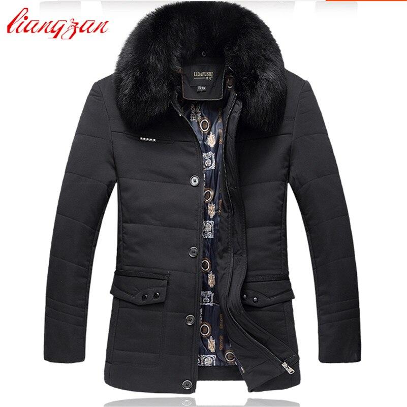Для мужчин Пуховое пальто Мех животных Съемная теплые зимние толщиной более Пальто для будущих мам Марка средней длины Повседневное высоко...