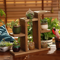 Pastoral Style Mini Hand Made Wooden Plant Pot stand Tabletop Succulent Plants Storage Rack Office Flower Pot Frame Shelf Hot