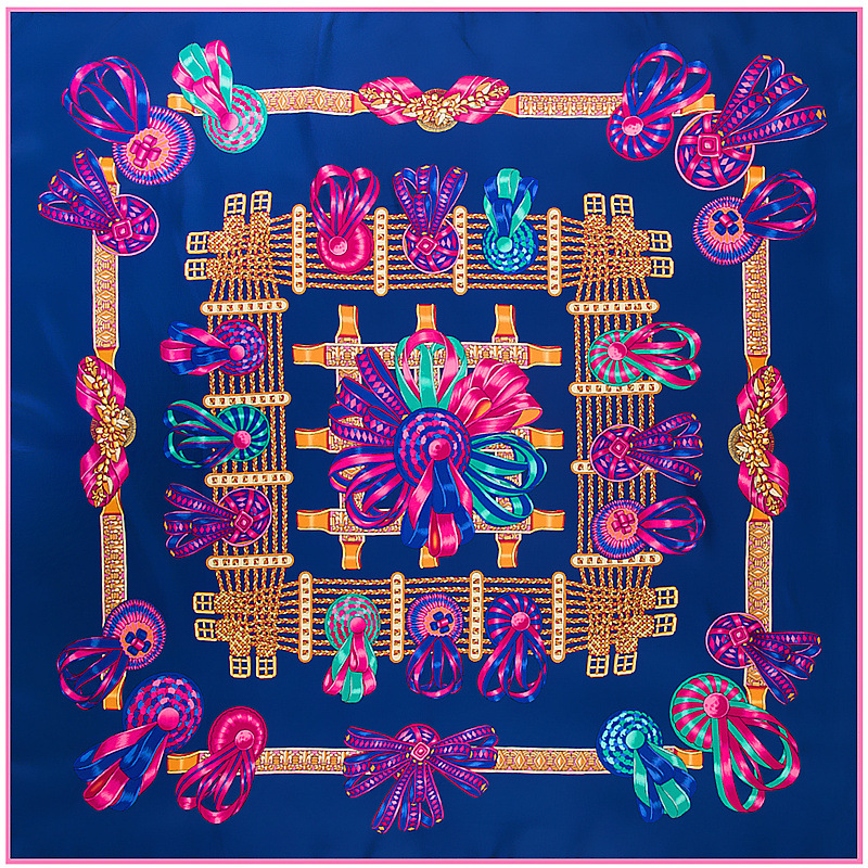 New Square Silk   Scarf   Luxury Brand Quality Women   Scarves     Wraps   Hijab Colors Ribbon Bow Printed Super Large Bandana   Scarf