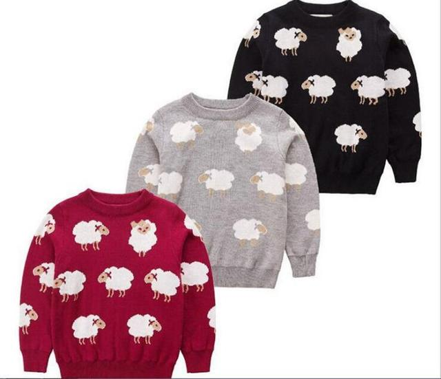 Дети Детские Двойной жаккард баранчик трикотажные пуловеры Свитер детей хлопка младенца свитер Оптовая
