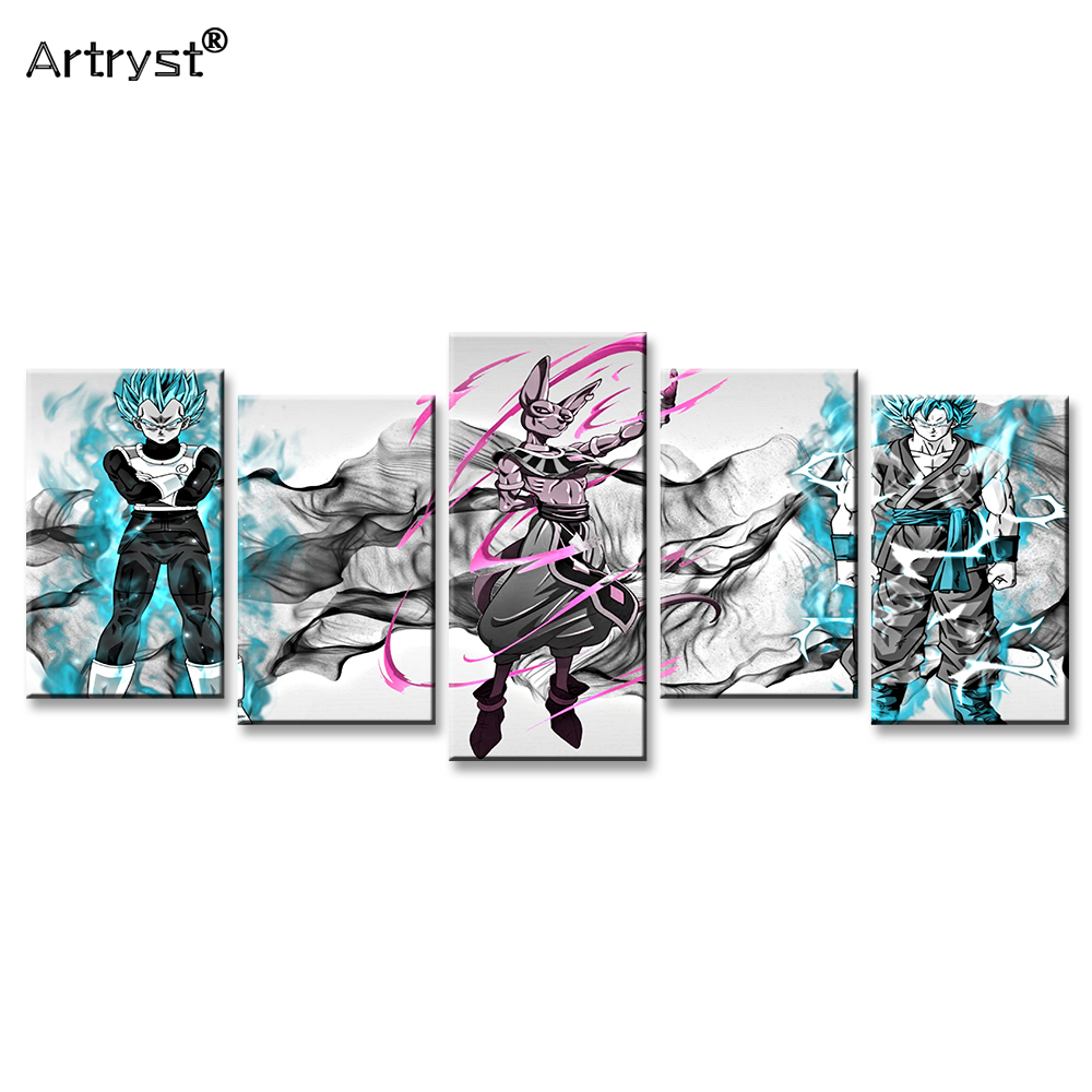Artryst Hand-drawn Cartoon Dragon Ball Super Goku Poster HD Printed on Canvas 5 Piece Modular Wall Art Picture for Kids Room