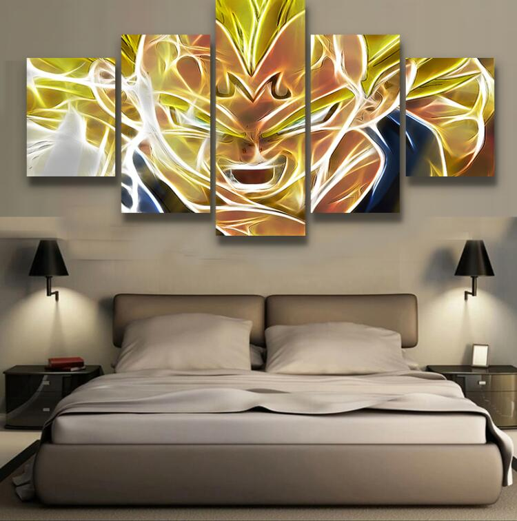 new 5 pieces sets canvas art dbz tagged dragon ball z. Black Bedroom Furniture Sets. Home Design Ideas
