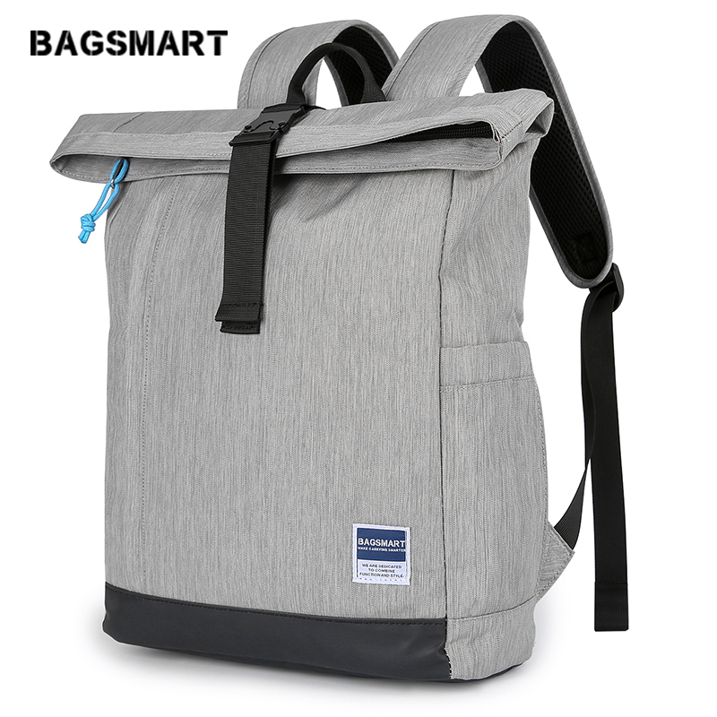 BAGSMART Travel Laptop Backpack Roll-Top Backpack Water Resistant Daypack For Men & Women Fits 15.6 Inch Laptop And Notebook 22L
