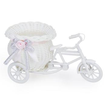 Home Decor Handmade Rattan Weave Flower Basket With Plastic Bicycle Holder