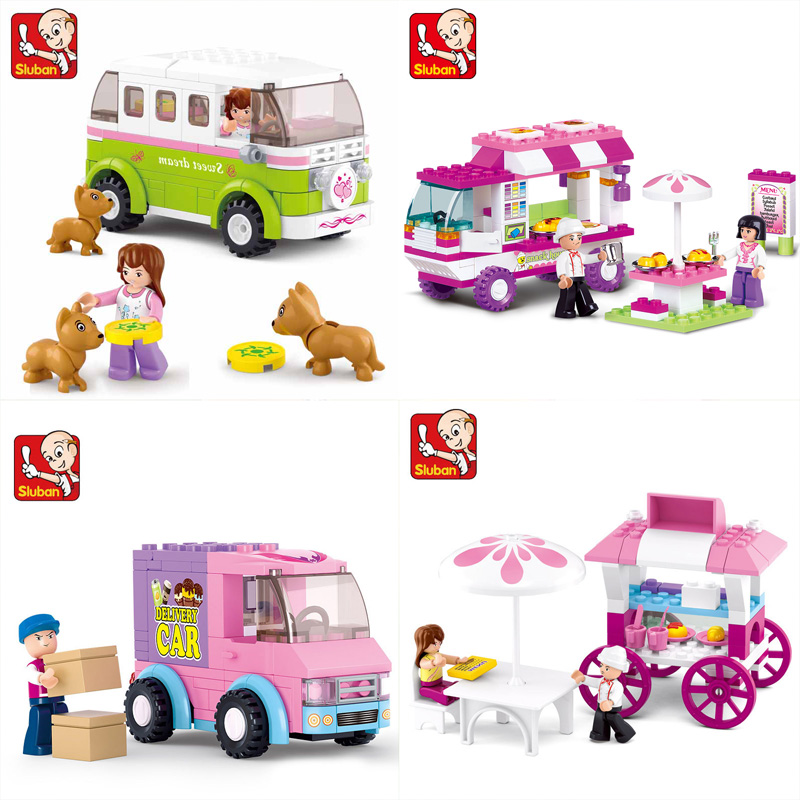 SLUBAN Girl Friends Snack Car Delivery Car Dining Car Travel Car Model Building Blocks Figure Toys For Children Compatible Legoe 0522 sluban girl friends bread dining car model building blocks classic enlighten diy figure toys for children compatible legoe