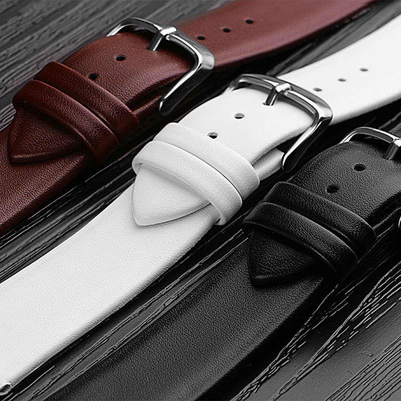 Watchbands Genuine Leather Watch Band straps <font><b>12mm</b></font> 14mm 16mm 18mm 20mm 22mm Watch accessories Women Men Brown Black Belt band image