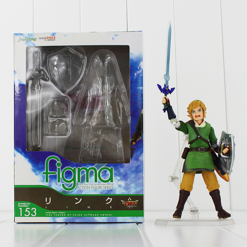 """Anime The Legend of Zelda Link PVC Toys With Skyward Sword Figma 153 Action Figure Collection Models 5.5 inch"""" 14cm"""""""
