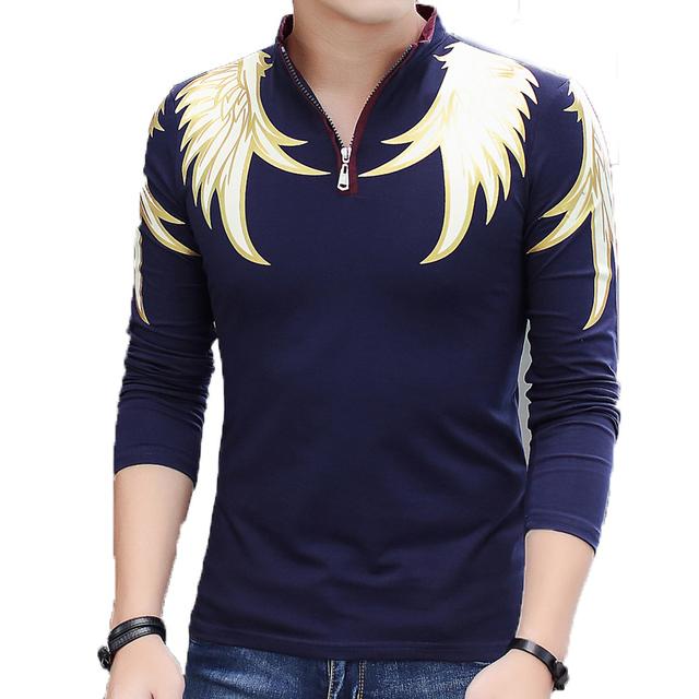 Moda Sólidos Camisas Polo dos homens Magro Ocasional dos homens Camisa Dos Homens do Polo de Manga Longa Turn-down Collar Dos Homens Pullovers