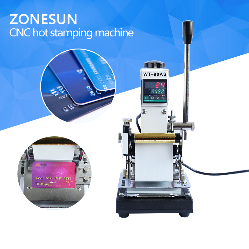 ZONESUN 220V/110V Manual Hot Foil Stamping Machine Card Tipper Embossing Machine For ID PVC Cards