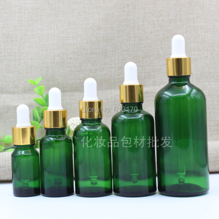 5ml,10ml,15ml,20ml,30ml,50ml,100ml Green Glass bottles With Dropper,Empty Essential Oil Glass Vials Gold Collar White rubber 10ml high grade tower type empty essential oil bottles gold plated crystal aromatherapy bottles page 2