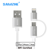 Samzhe 2 In 1 Micro USB Cable MFI Certified Lightning Cable For IPhone 7 6 6s