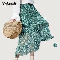 Yojoceli Ruffle Bow Print Green Skirt High Waist Chiffon Chic Women Pencil Skirt Long Casual Sexy