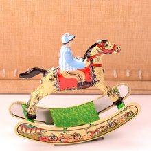 Retro Tinplate Cockhorse Clockwork Collections Vintage Tin Wind Up Toys Classic Handmade Crafts