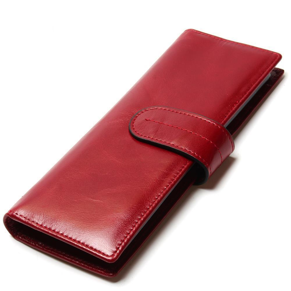 Korean version of the women's oil wax leather long card package Multi-card leather large capacity card wallet the 2018 new first layer of real leather ma am oil wax retro high capacity multi card bit long wallet clutch ma am genuine
