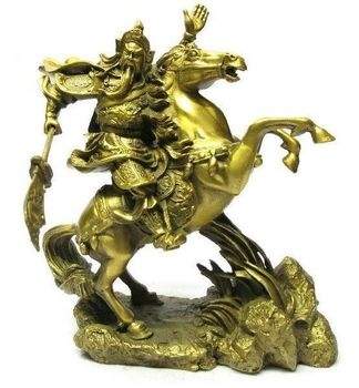 """Chinese BRASS brass Dragon Warrior Guan Gong/ Yu on horse Statue 7""""H Gold Medicine copper Decoration real Brass"""