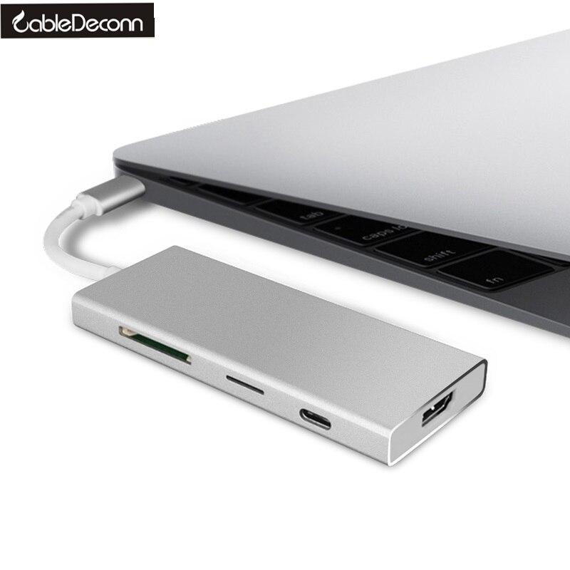 USB C USB 3 1 Type C to HDMI RJ45 USB3 0 USB2 0 Hub TF