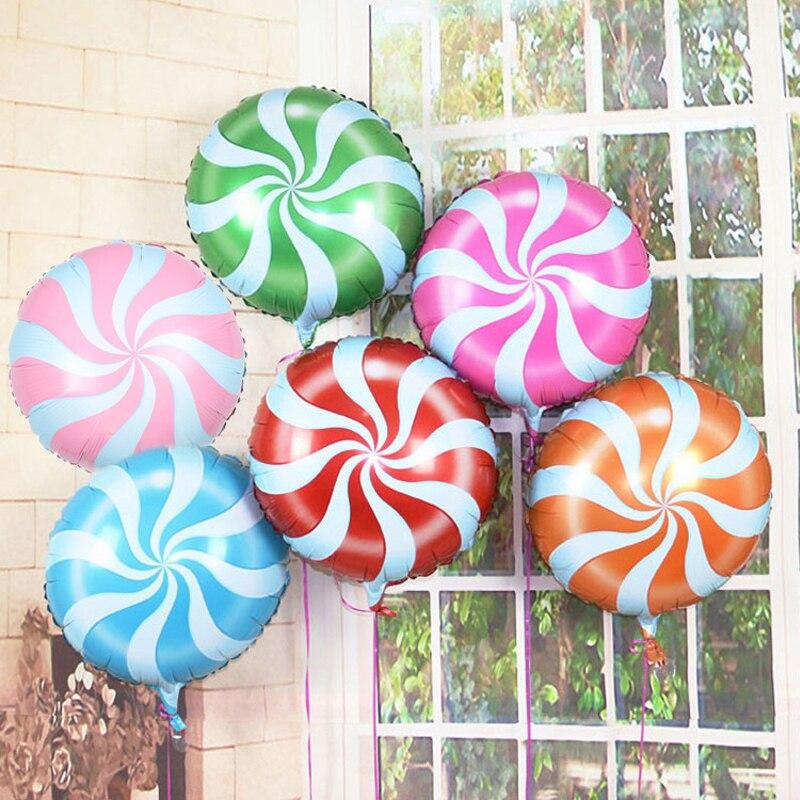 10pcs 18 inch Color Random Lollipop Windmill Foil Balloon Aluminum Baloon Kids Baby Birthday Party Decoration Bedroom Decor Gift